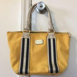 Michael Kors yellow canvas tote hand bag
